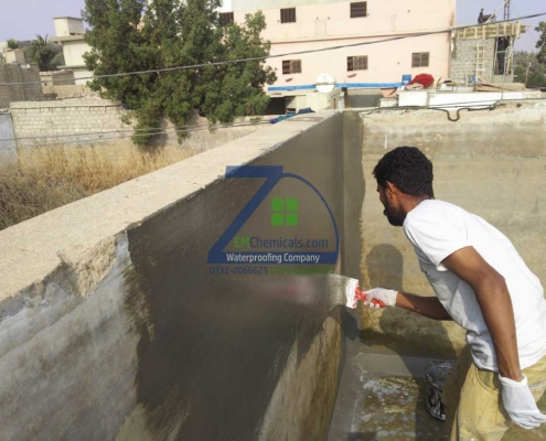 Over Head Water Tank Leakage Treatment at Korangi