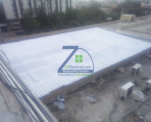 Roof Heat and Waterproofing on Asbestos Sheets Roof at Shahra-e-Faisal