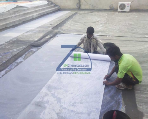 Roof Heat and Waterproofing Treatment with Membrane done at Gulistan-e-Jauher